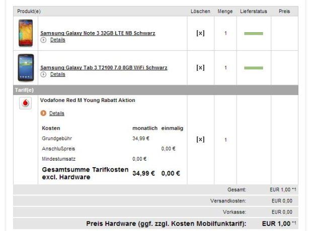 Galaxy Note 3 + Galaxy Tab 3 + AllNet Flat nur 34.99€ mtl