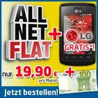 AllNet FLAT + LG Optimus L1 II + 100€ nur 19,90€ mtl