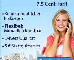 7,5 Cent Prepaid Tarif im D2 Netz von Vodafone