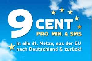 9 Cent Min/SMS in alle dt. Netze und ins EU-Ausland
