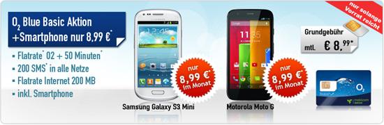 o2 Flat + 50 Min/200 SMS + Galaxy S3 mini 8.99€ mtl