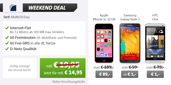 Galaxy Note 3 + 60 Min/SMS + Internet Flat 14.95€ mtl