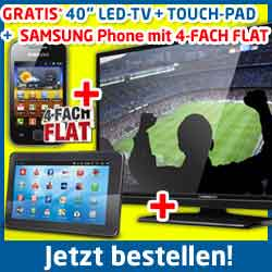 Samsung Galaxy Y + Tablet + 40 Zoll LED-TV 29.90€ mtl