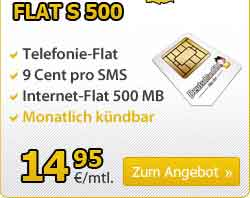 AllNet Flat + Internet Flat - ohne Laufzeit - 14.95€ mtl