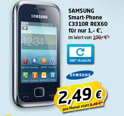 Android Tab + Samsung C3310R 2.49€ mtl