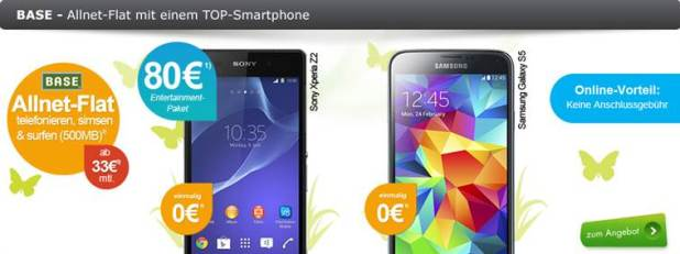 Sony Xperia Z2 + BASE all-in classic 33€ mtl