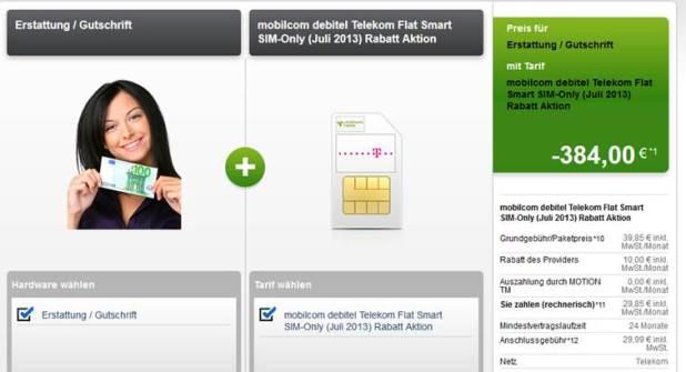 Telekom Flat Smart + Auszahlung nur 13.85€ mtl