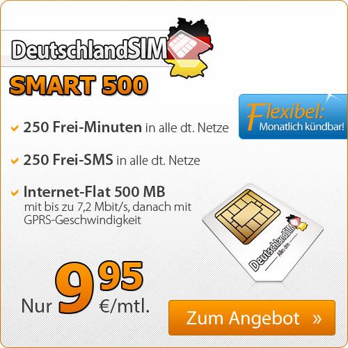 250 Min + 250 SMS + Internet Flat 9.95€ mtl
