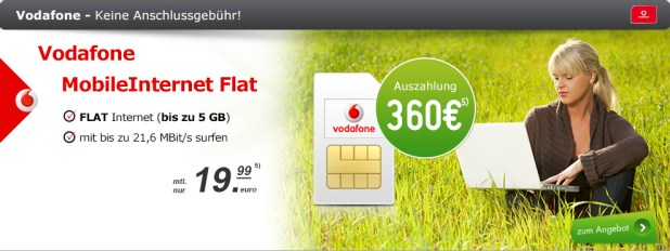 MobileInternet Flat 3GB LTE + 360€ Ausz. 19.99€ mtl