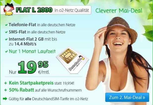 Allnet- und SMS-Flat mit 2 GB Internet 19,95€ mtl