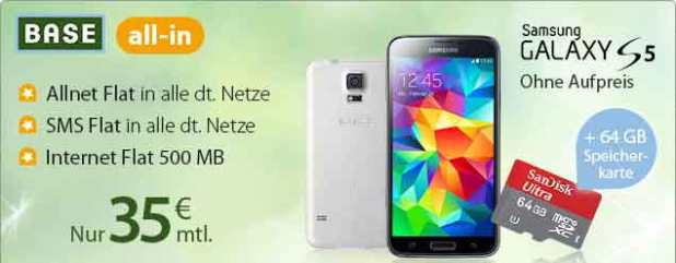 Galaxy S5 + 64GB Speicherkarte + BASE all-in 35€ mtl