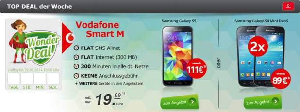G900F Galaxy S5 + Vodafone Smart M 19.99€ mtl