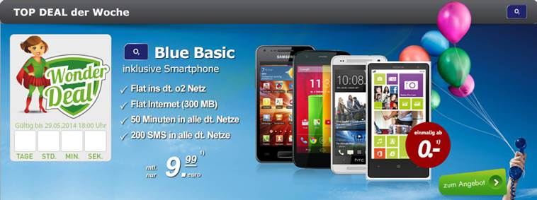 HTC One mini + o2 Blue Basic 9.99€ mtl