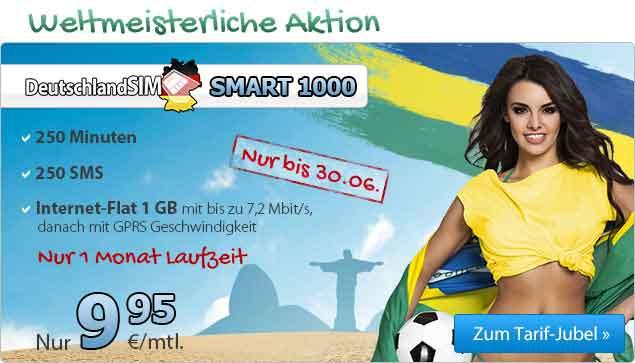 1 GB Internet-Flat + 250 Minuten und SMS 9.95€ mtl