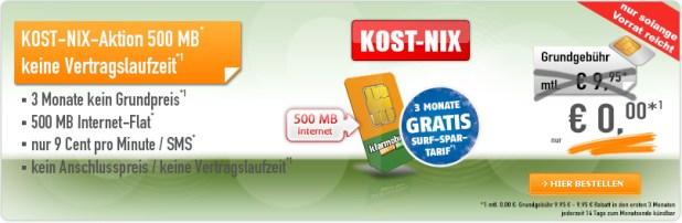 KOST-NIX Surf-Spar 500MB Datenflatrate