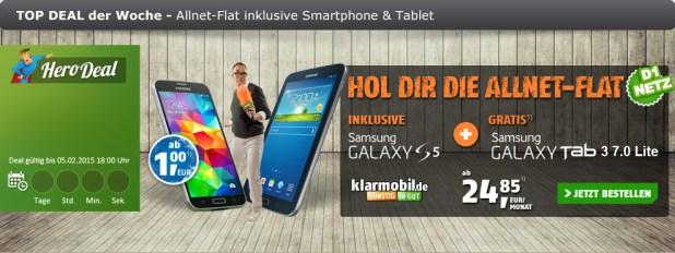 Mega Angebot Klarmobil mit Samsung Galaxy S5 inkl. Tablet