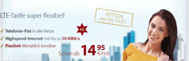 4G LTE Internet Flat + AllNet Flat -ohne Laufzeit- nur 14.95€ mtl.