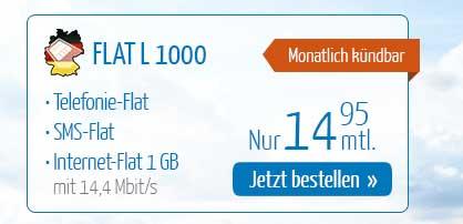 Telefonie Flat und 1 GB Internet -ohne Laufzeit- nur 14.95€ mtl