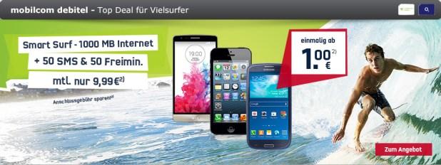 Smart Surf o2 inkl. Smartphone nur 9.99€ mtl