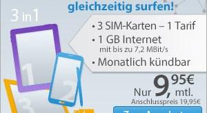 Internet Flat 1 GB im D2 Netz ohne Laufzeit nur 9.99€ mtl.