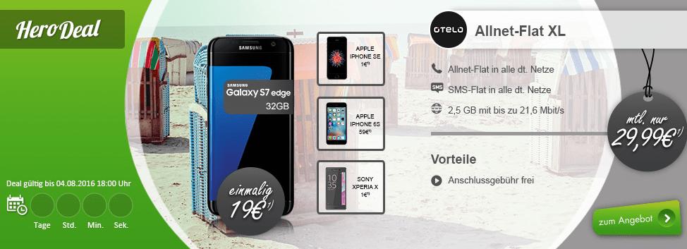 Otelo Allnet Flat XL 2,5GB + Galaxy S7 Edge nur 29,99€ mtl.