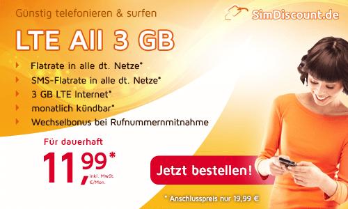 LTE All 3 GB -monatlich kündbar- nur 11,99€ mtl.