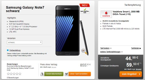 Samsung Note7 + Vodafone Smart L+ 2 GB LTE - 44,99€ mtl.