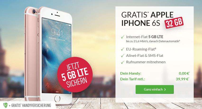iPhone 6s+ 5GB LTE+ Allnet+ EU+ Handyversicherung nur 39,99€ mtl.