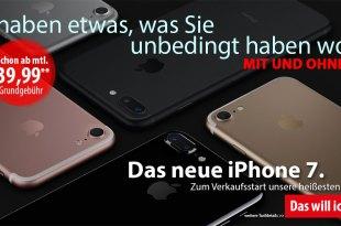 7GB LTE + Allnet + EU + iPhone 7 nur 49,99€ mtl.
