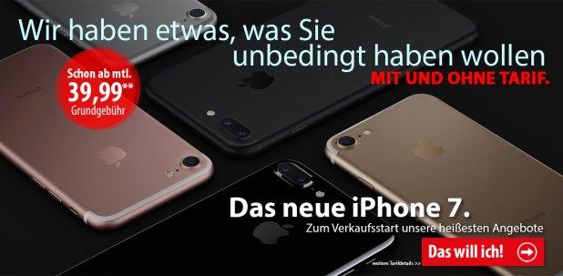 iPhone 7 - jetzt ab 1 Euro vorbestellen!