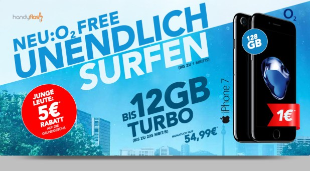 o2 Free XL 8GB LTE+ EU+ Multicard+ iPhone 7 128 GB nur 54,99€ mtl.