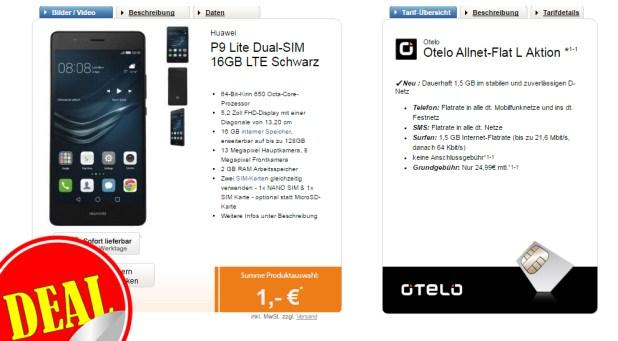 P9 Lite + Otelo Allnet-Flat L nur 24,99€ mtl.