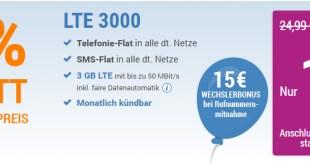 LTE 3000 MB+ Allnet+ EU+monatlich kündbar nur 12,49€ mtl.