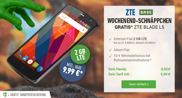 ZTE Blade L5 Smartphone + BASE Light Eco für mtl. 9,99€