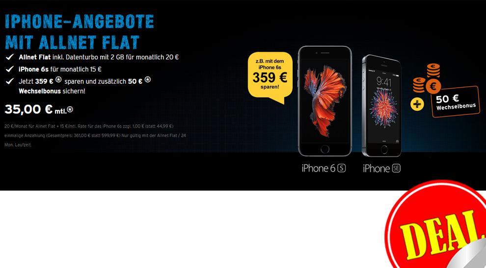 congstar Allnet Flat + 2GB + iPhone 6s nur 35€ mtl.