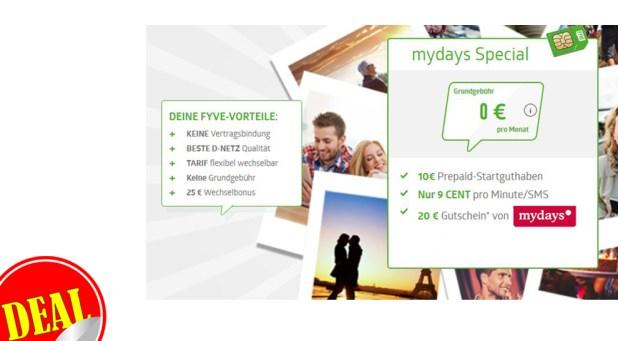 FYVE Prepaid Tarif mit 20€ Gutschein von mydays