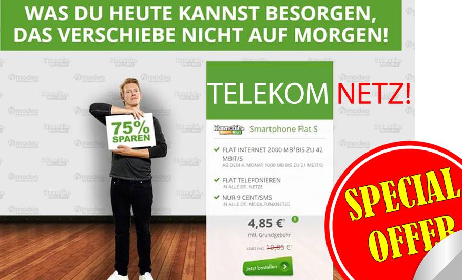 TOP Deal Telekom Netz! Allnet Flat + 1GB nur 4,85€ mtl.