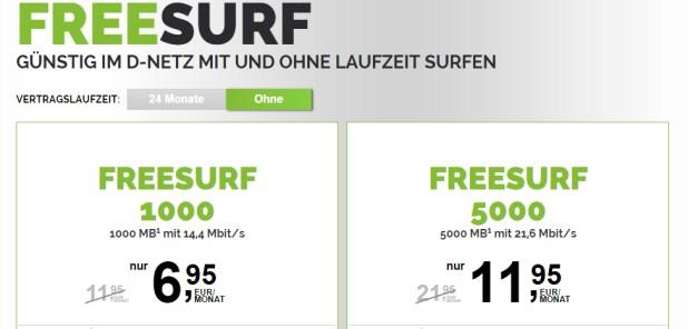 freeSURF Datentarif 5GB monatlich kündbar nur 11,95€
