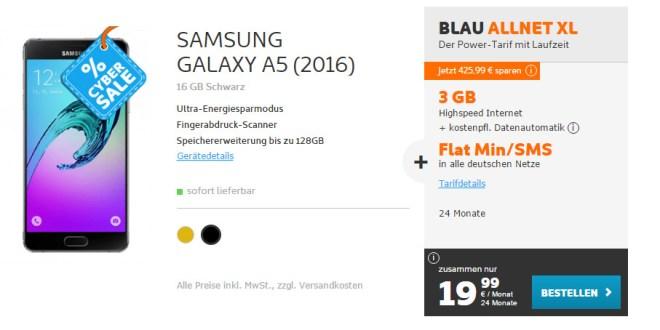 Galaxy A5 mit 3GB und Allnet nur 19,99€ mtl.