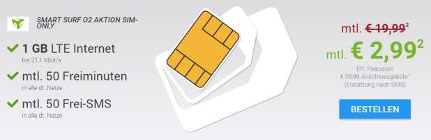 1 GB LTE Internet + 50 Min + 50 SMS nur 2,99€ mtl.