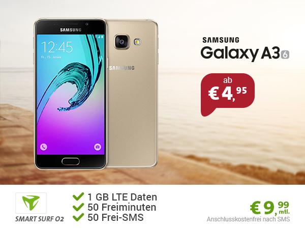 Samsung Galaxy A3 + 50Min/SMS + 1GB nur 9,99€ mtl.