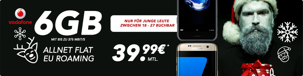 6GB LTE + Allnet Flat + EU Roaming Flat + iPhone 7 nur 39,99€ mtl.