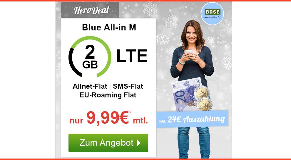Blue All-in M mit 2GB LTE + Allnet und EU Roaming nur 9,99€ mtl.