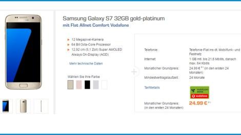 Galaxy S7 + Samsung Gear VR + Allnet nur 24,99€ mtl.