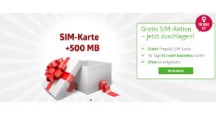 Gratis SIM Karte mit 500 MB Internet im D Netz