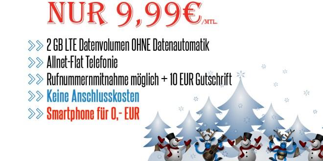 Smartphone + 2GB LTE Internet + Allnet Flat nur 9,99€ mtl.