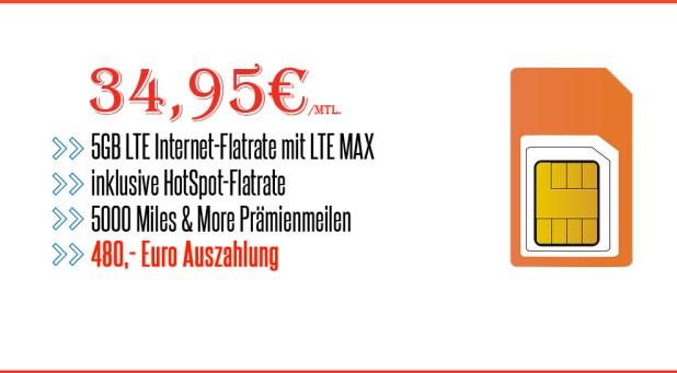 Telekom Datentarif mit 5GB LTE und 480 Euro Auszahlung nur 34,95€ mtl.