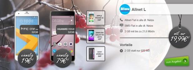 HTC One A9s + Allnet Flat + 2GB nur 19,99€ mtl.