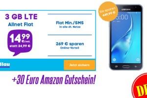 Samsung J3 + Allnet + 3GB LTE nur 14,99€ mtl. + Amazon Gutschein