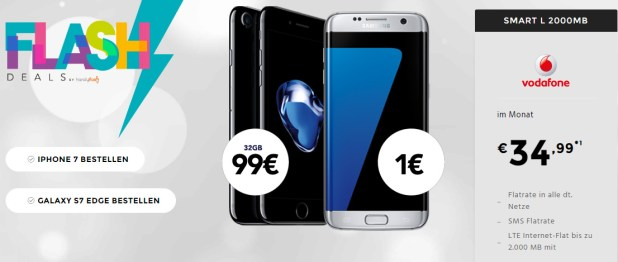 Weekend Deal: iPhone 7 + Allnet & SMS Flat mit 2GB LTE nur 34,99€ mtl.